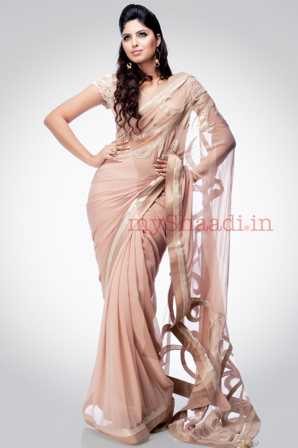Nude Sari...Love it! by Satya Paul | kk | Pinterest