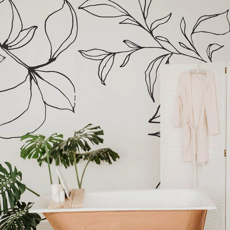 Minimal Floral Removable Wallpaper Peel And Stick Wall