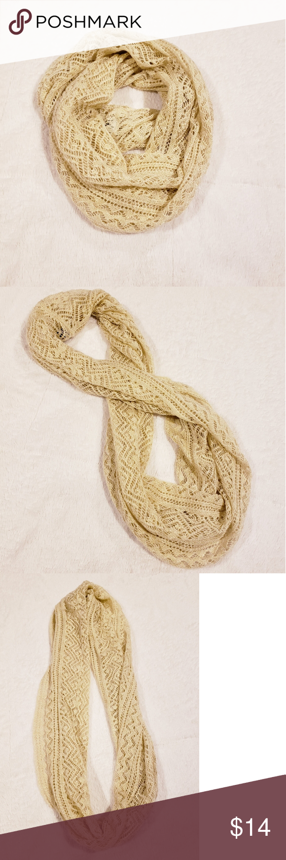 Photo of Charlie Paige Gold Loose Knit Infinity Scarf Charlie Paige loose knit infinity s…