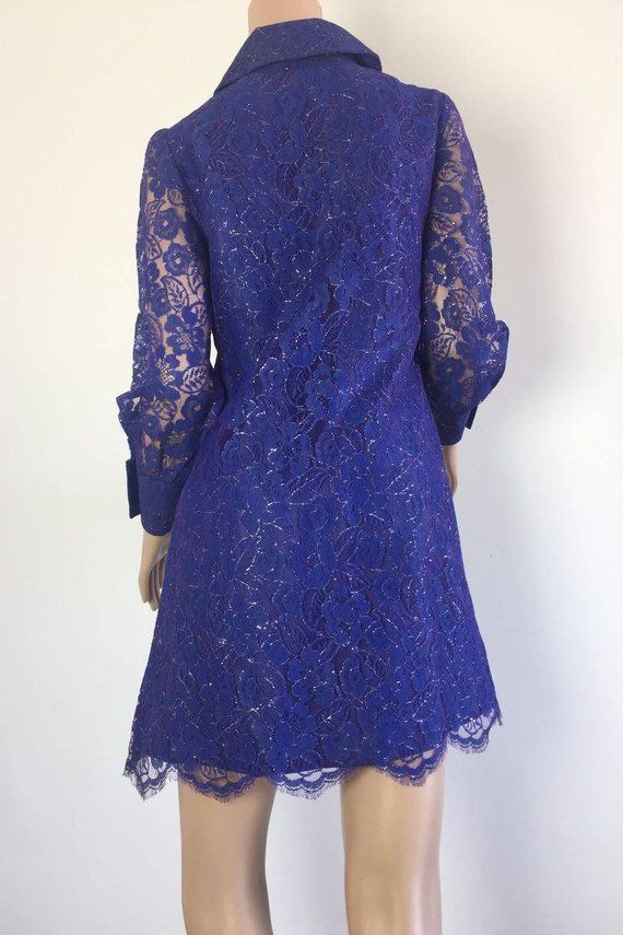 4da0f7f06c0 60s mini dress.Mini dress vintage.Evening dress vintage.Royal Blue lace  dress.Elegant Evening dress.