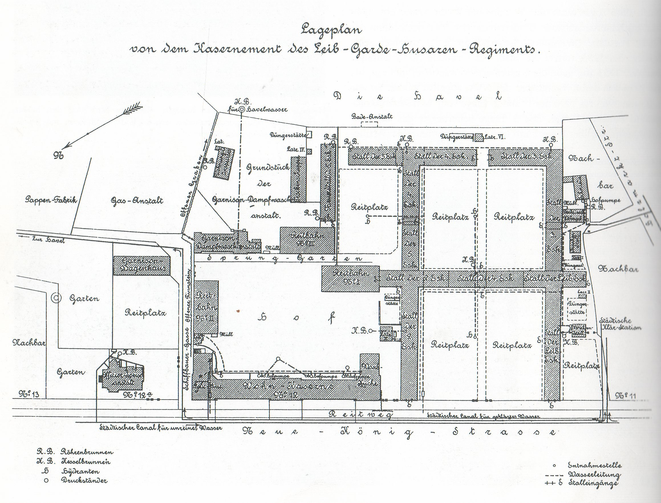 Map of the Leib Garde Hussar Garrison in Potsdam.