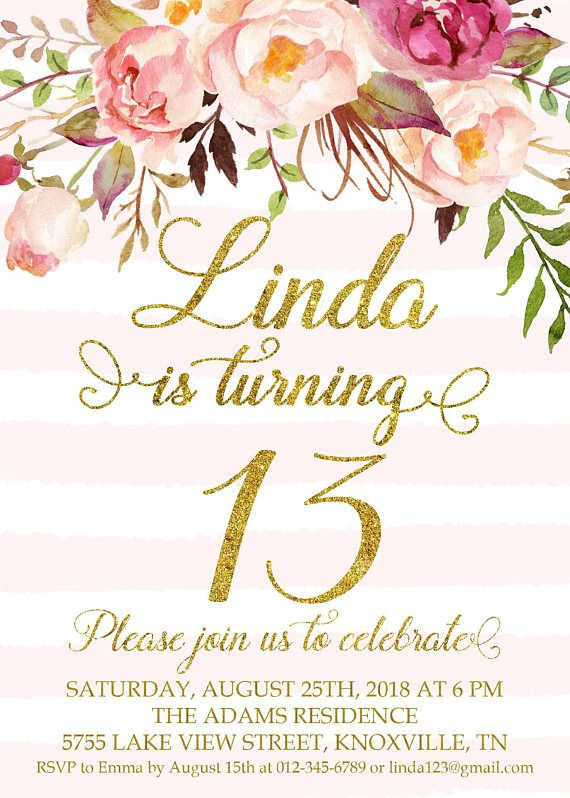 13th Birthday Invitation Thirteenth Party Floral Pink Turquoise Stri