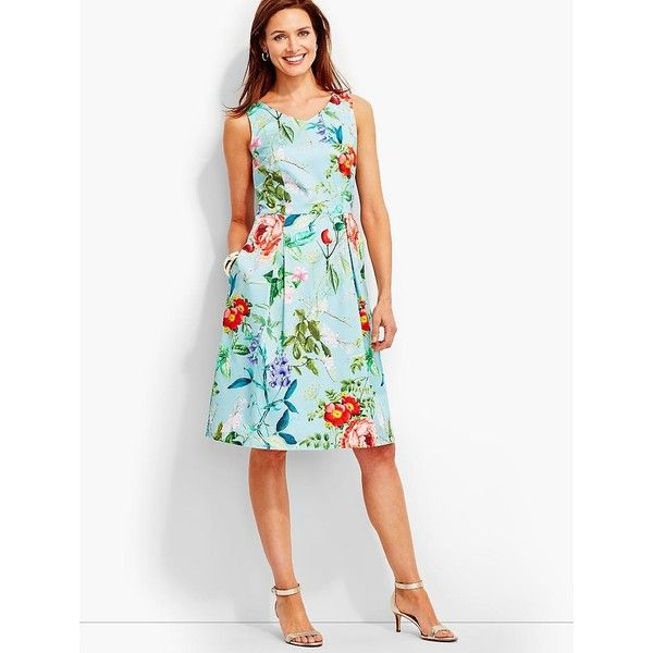 Talbots Women S Dancing Flower Garden Dress 160 Liked On Polyvore Featuring Dresses Plus Size White Fit Flare And