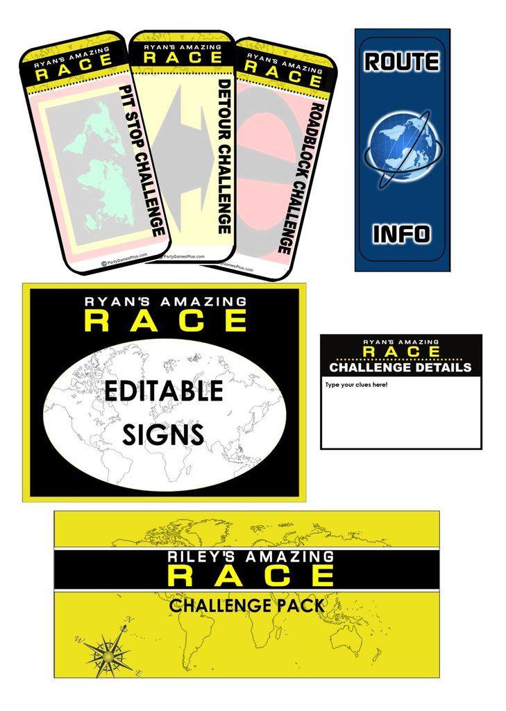 Amazing Race Clues Challenge Cards Editable Swearingen