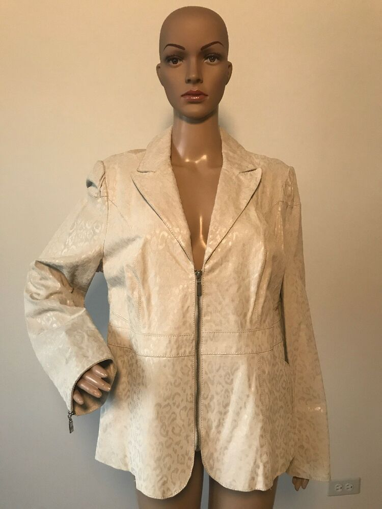 db726b04e692 Pamela McCoy Ivory Off White Leopard Animal Print Suede Leather Jacket Coat  L #fashion #clothing #shoes #accessories #womensclothing #coatsjacketsvests  ...