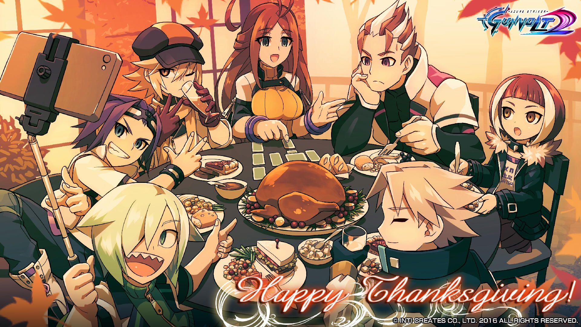 Thanksgiving Wallpaper Azure Striker Gunvolt Azure Striker Gunvolt Kawaii Anime Anime Scenery