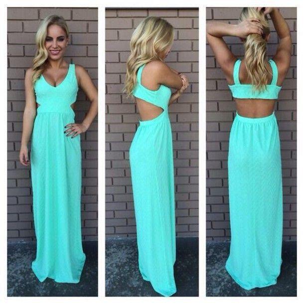 dress turquoise cute dress long dress mint | ❤️Fashion ...