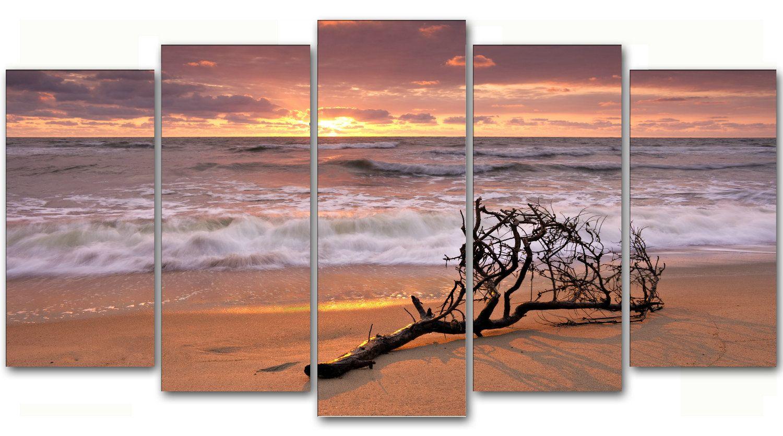 Cuadro #paisaje puesta de #sol en la #playa, lienzo 5 piezas ...