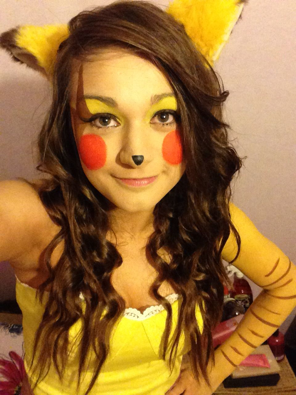 Halloween pikachu pokemon makeup   Pikachu costume ...