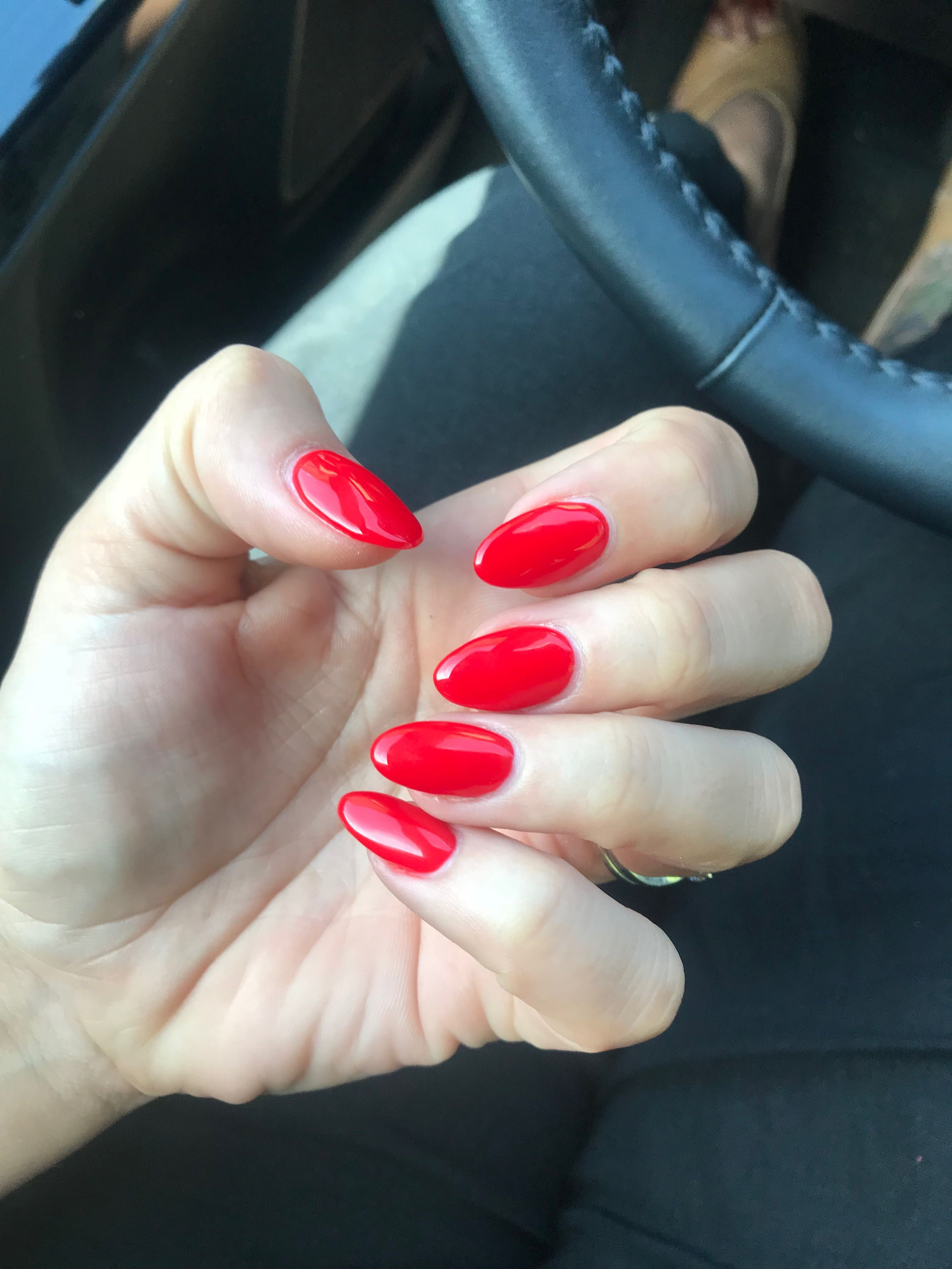 Ferrari Red Almond Round Acrylic Bright Red Short Nails Red Acrylic Nails Rounded Acrylic Nails Bright Red Nails