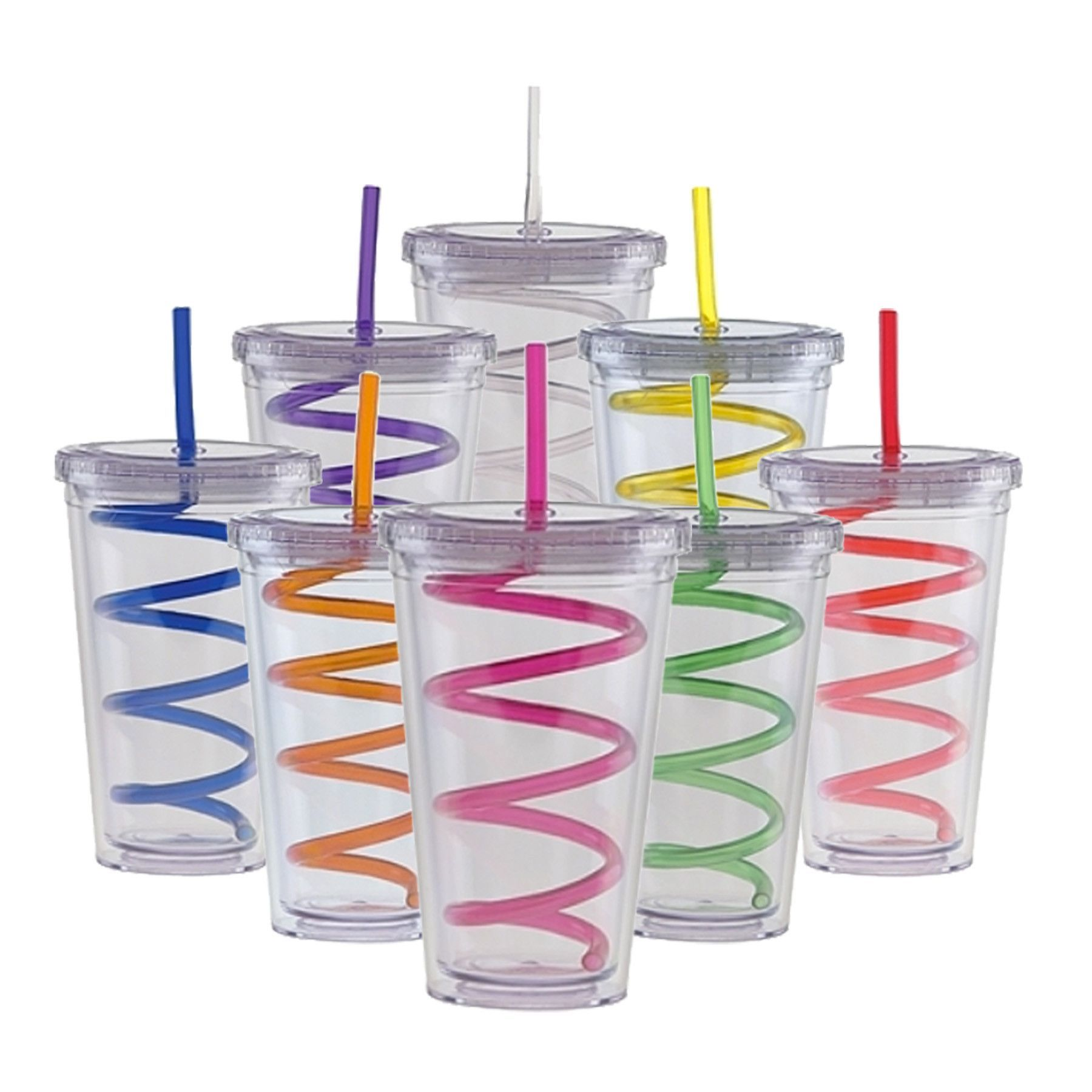 Blank 20 Oz Double Wall Clear Tumbler With Lid And Swirly Straw Clear Tumblers Tumbler Cups Diy Tumblers With Lids