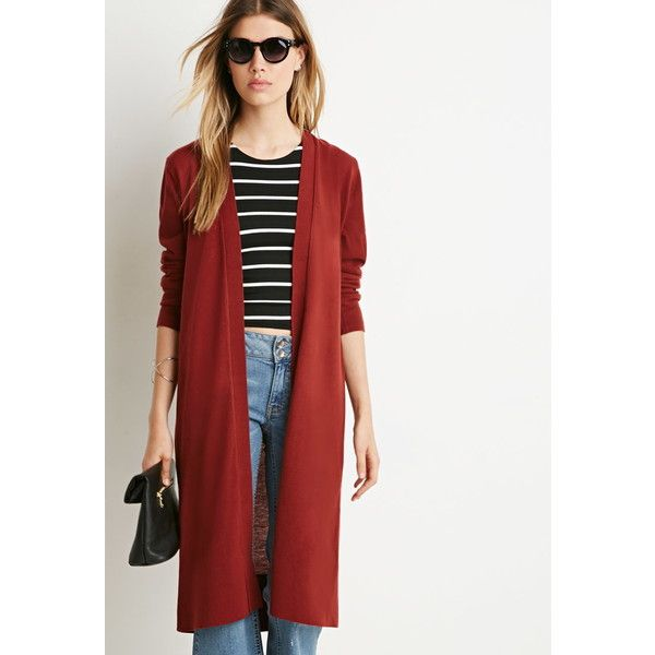 Forever 21 Classic Longline Cardigan ($20) ❤ liked on Polyvore ...