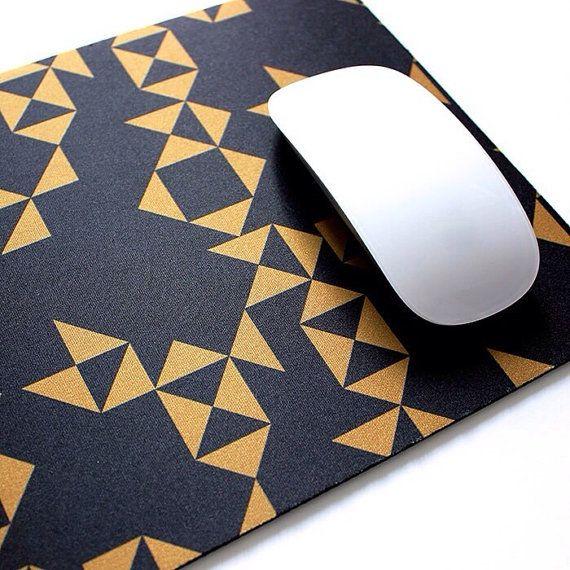 Black and Gold Geometric Soft Fabric Top by thinkandinkstudio