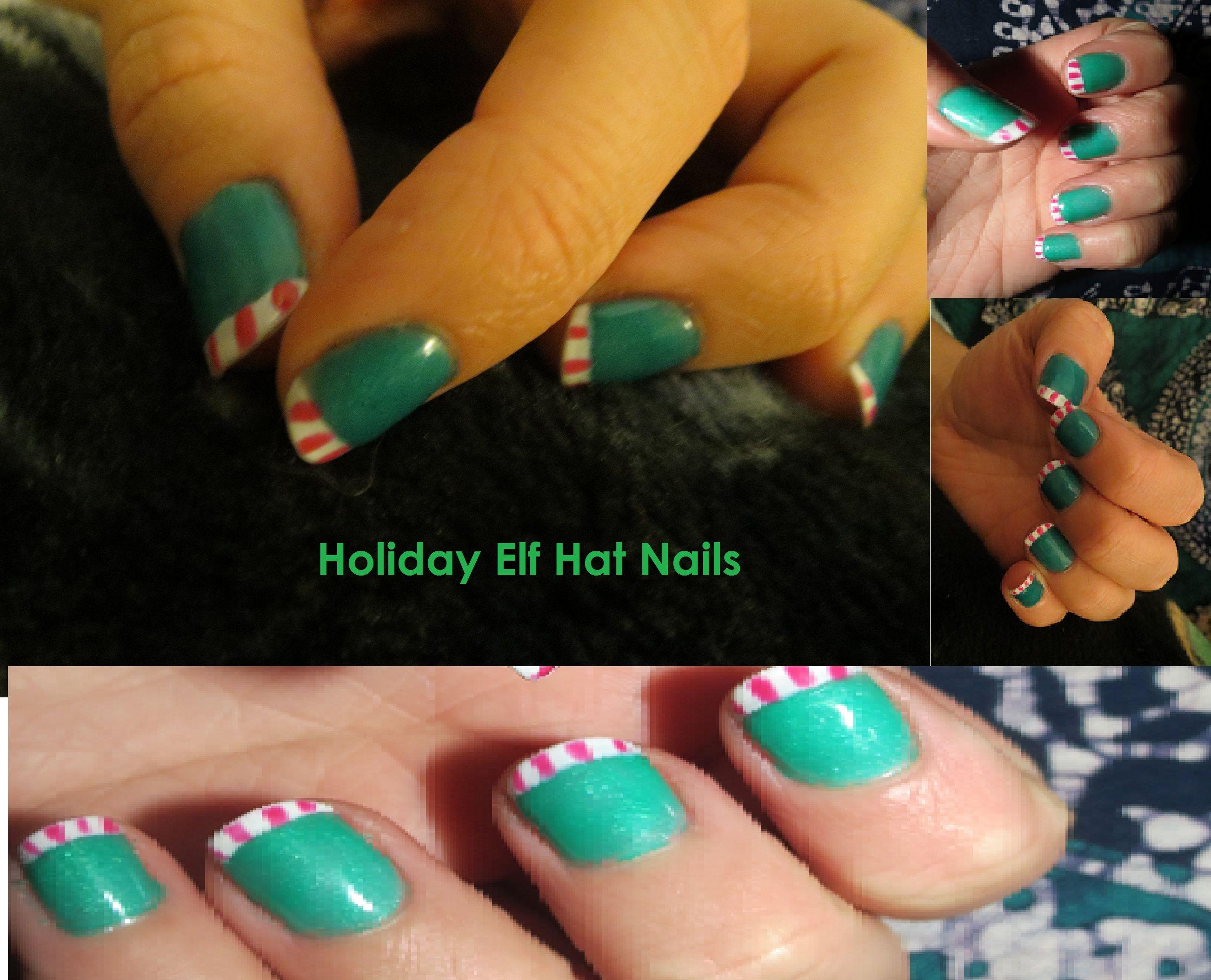 Holiday Elf Hat Nails OPI gel nail polish \
