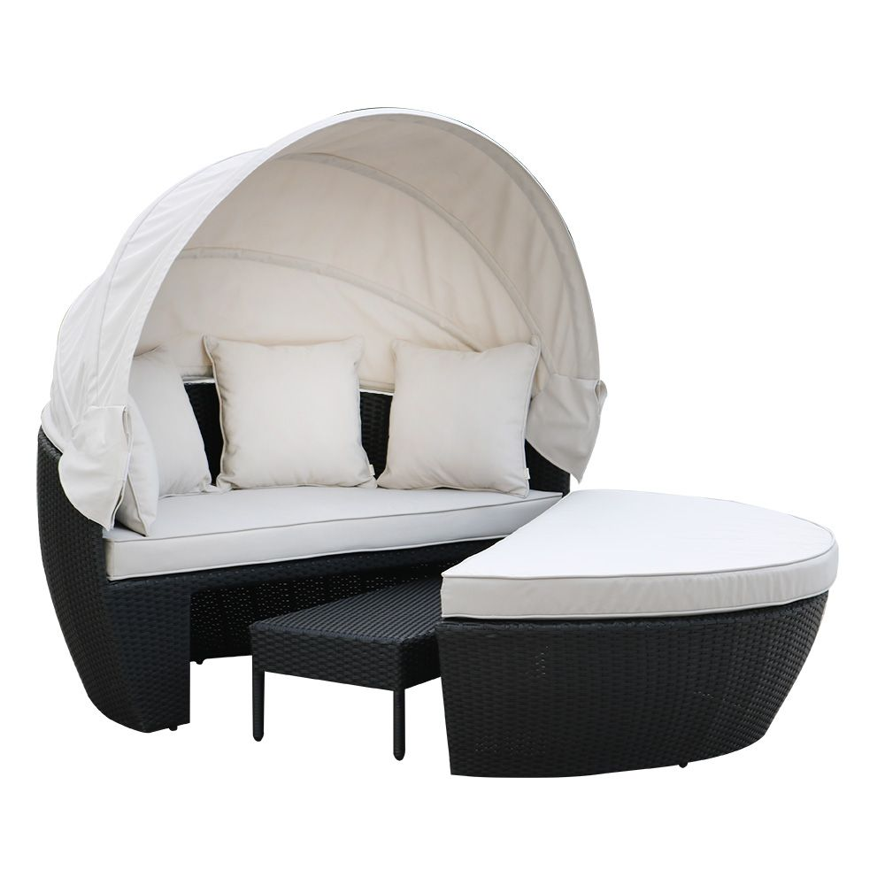 Erith Wicker Outdoor Furniture Day Bed w/ Canopy - Black ... on Luxo Living Outdoor id=81340