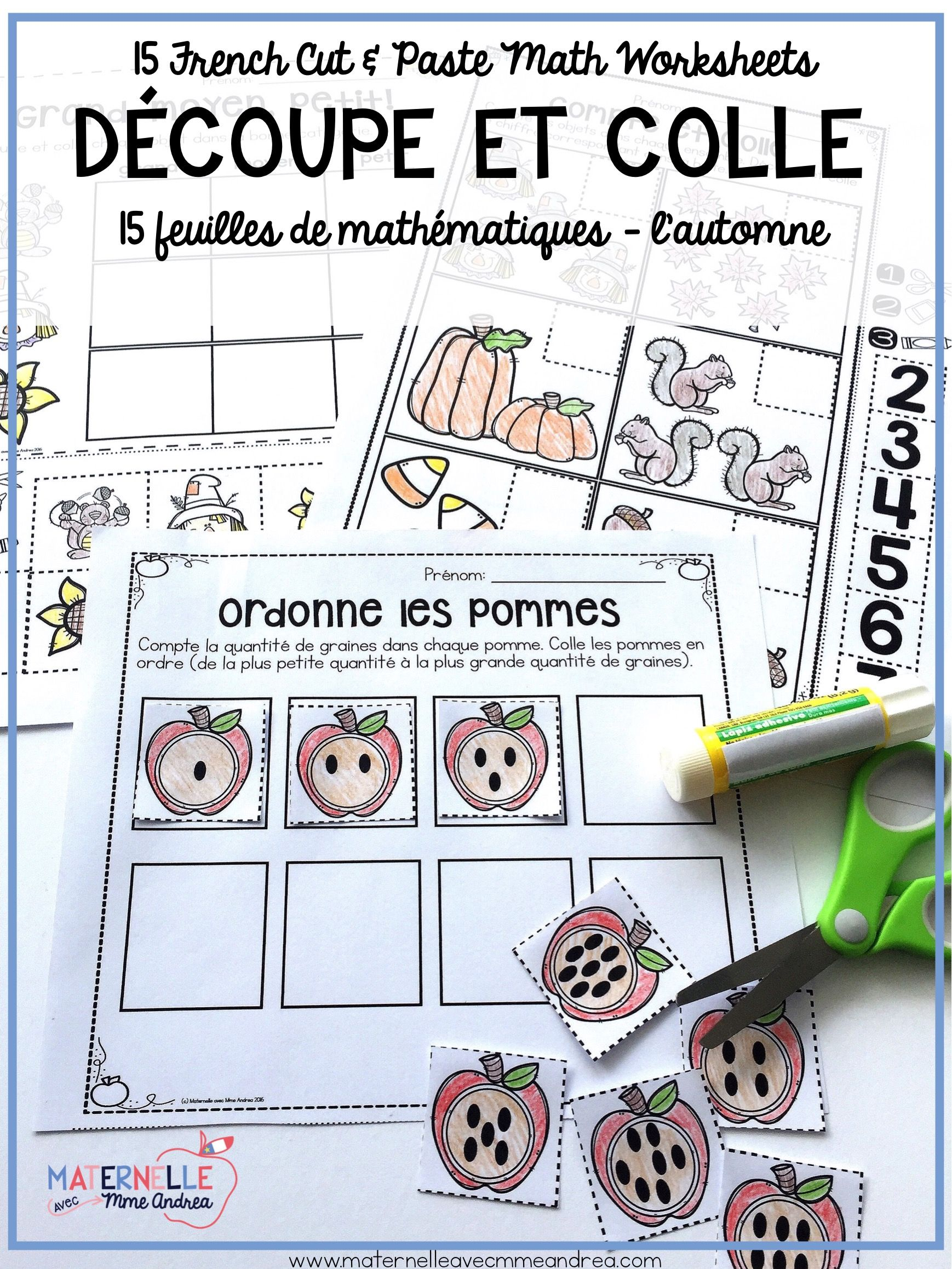 French Autumn No Prep Math Worksheets Cut Amp Paste