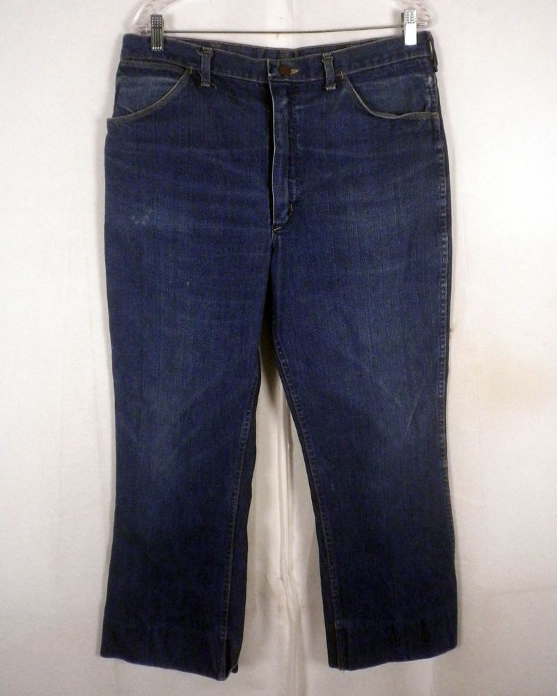 64f02bf5 vtg 60s 70s Wrangler Indigo Denim Flare Jeans Ideal Zipper USA made 34 X 28