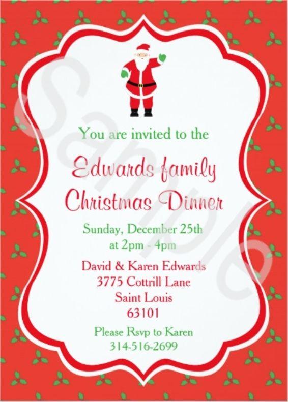 Christmas Dinner Invitations  Santa  Dinner Invitations