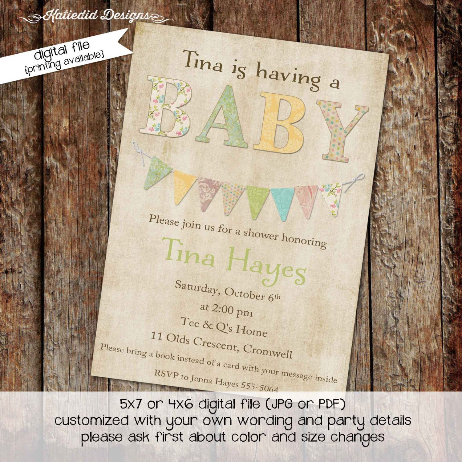 gender reveal invitation gender neutral baby sprinkle high tea shower bring a book library bunting banner (item 145) shabby chic invitation by katiedidesigns on Etsy https://www.etsy.com/listing/75938292/gender-reveal-invitation-gender-neutral