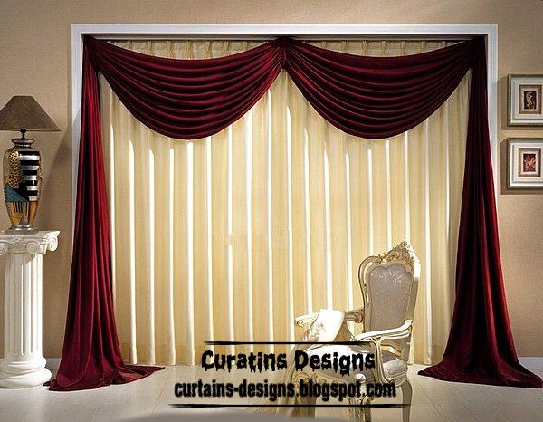 Dream Beige Curtain With Red Curtain Scarf Design Curtain