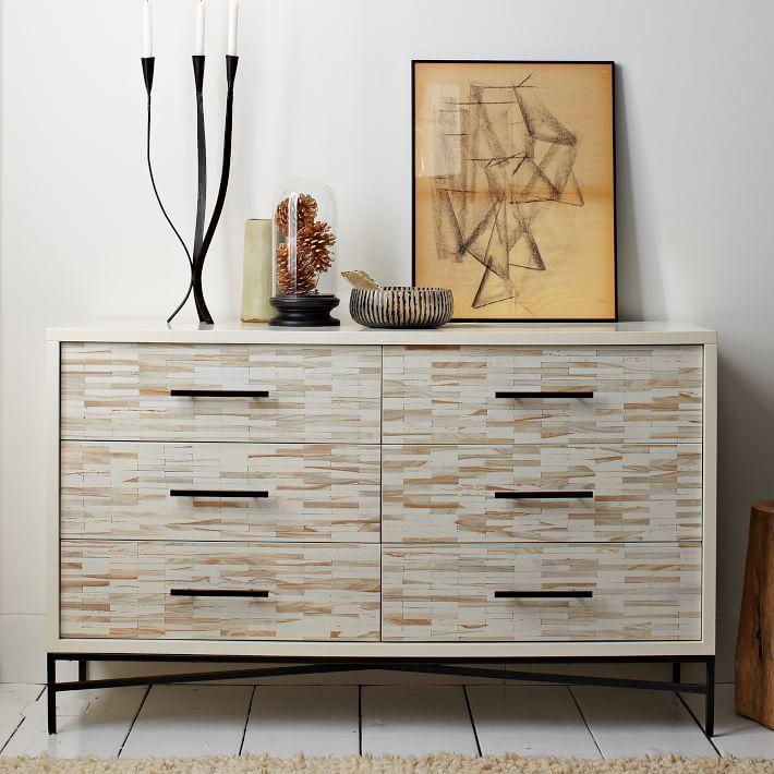 Wood Tiled 6-Drawer Dresser Dresser, Tile wood and Drawers