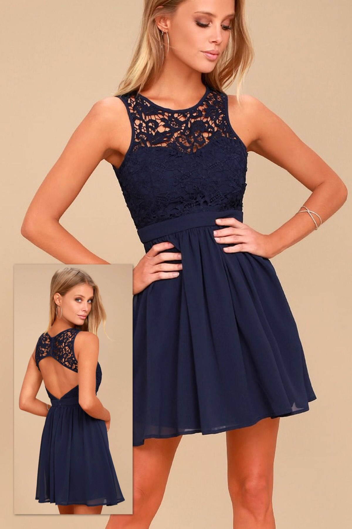 406ff26660d ROMANTIC TALE NAVY BLUE LACE SKATER DRESS ~ Lulus ~ May 2018