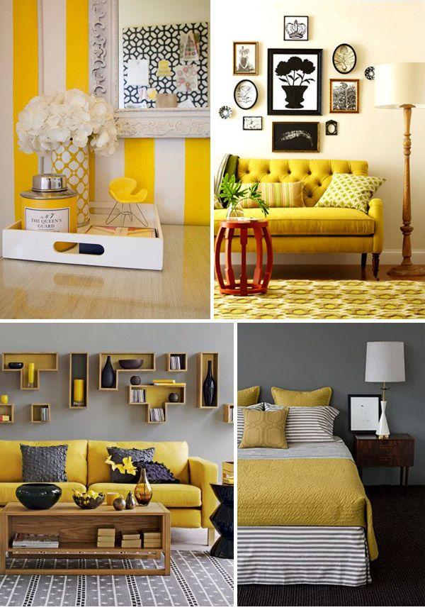 yellow, yellow, yellow Yellow home decor, Grey home