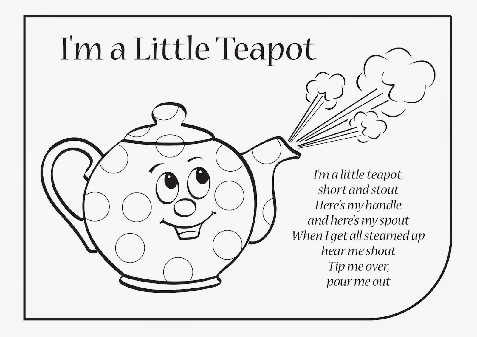 Tea Pot Coloring Sheets