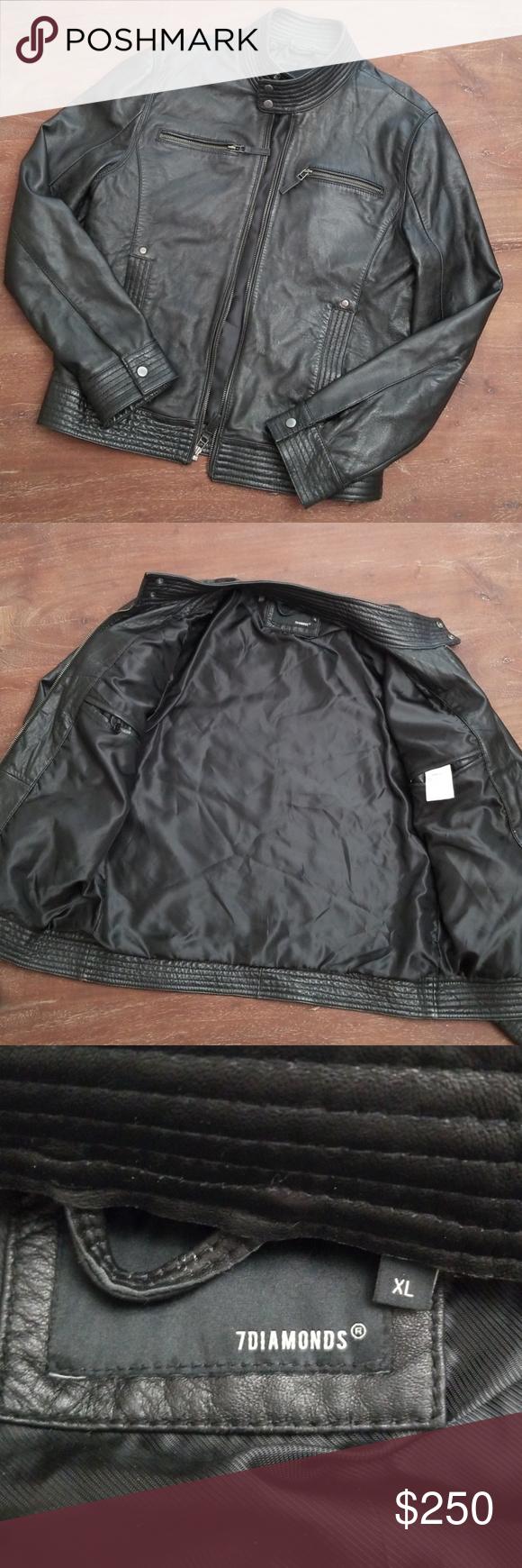 b47ff14d6 Gone tmrw 7 Diamonds Leather Moto Jacket Worn twice Slim fit. More ...