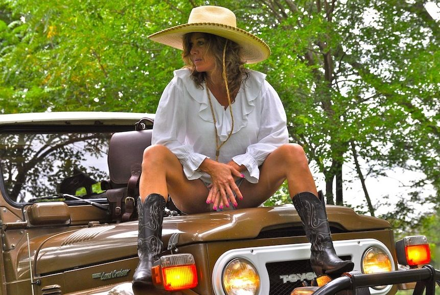Model with 1978 FJ40. Hat by Michael Malone 1a6141b17ab