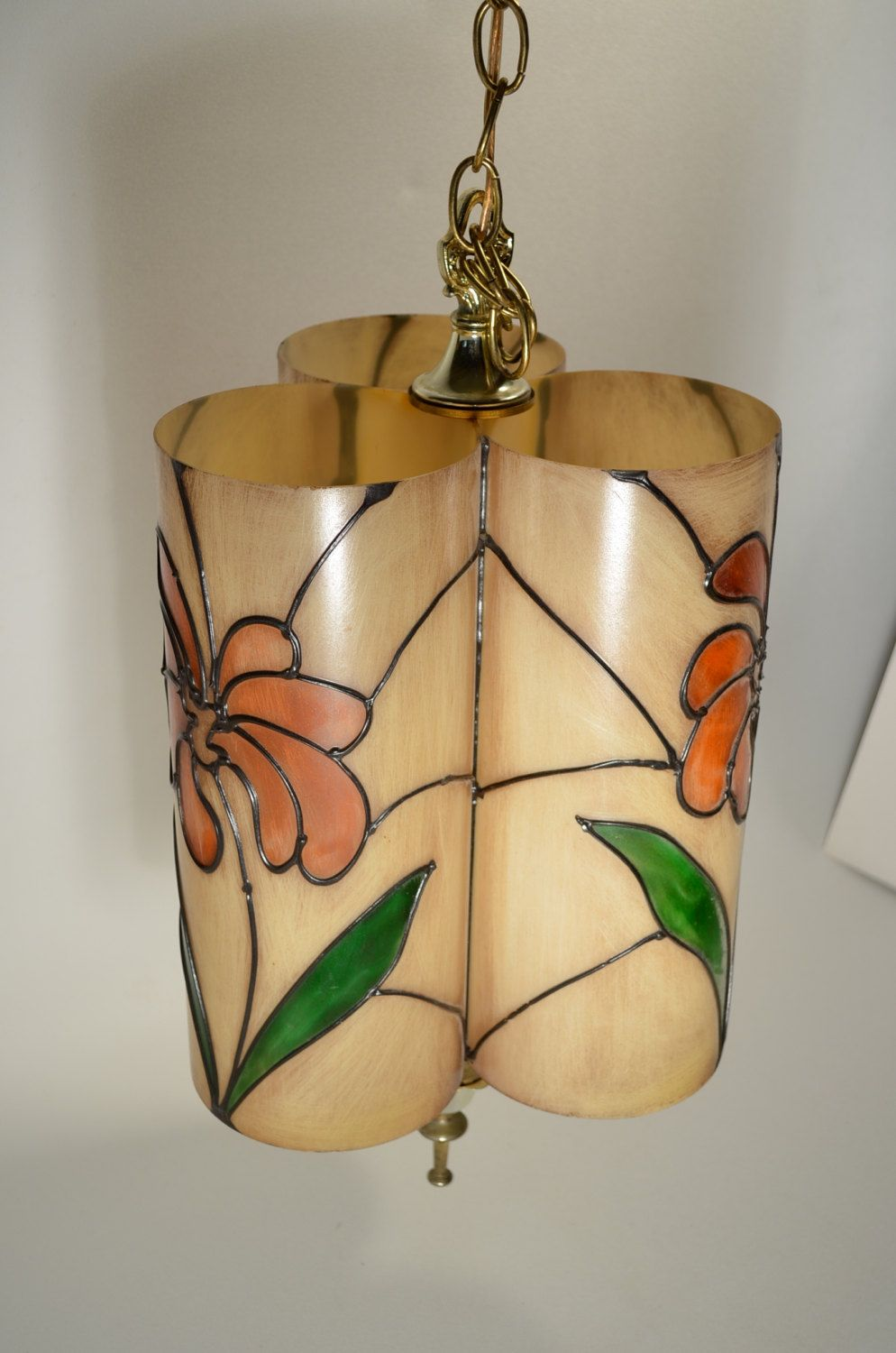 1970s hanging lamp in that eras' iconic color palette