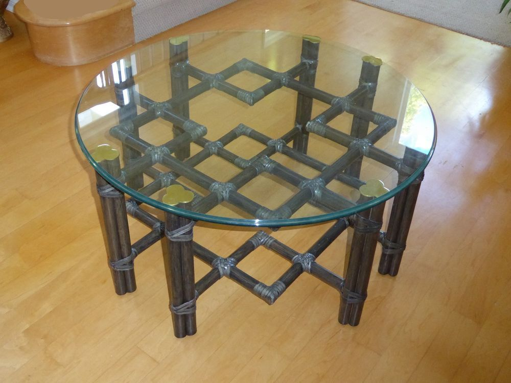 Vintage Mcguire Black Rattan Bamboo Round Glass Top Coffee Table
