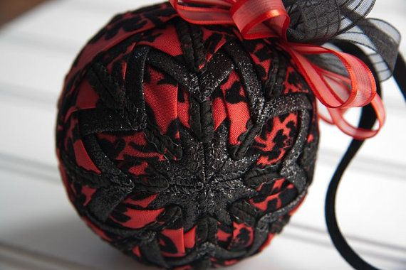 Valentine Quilted Ornament Ball/Black and Red by YouniqueOrnaments, $25.00