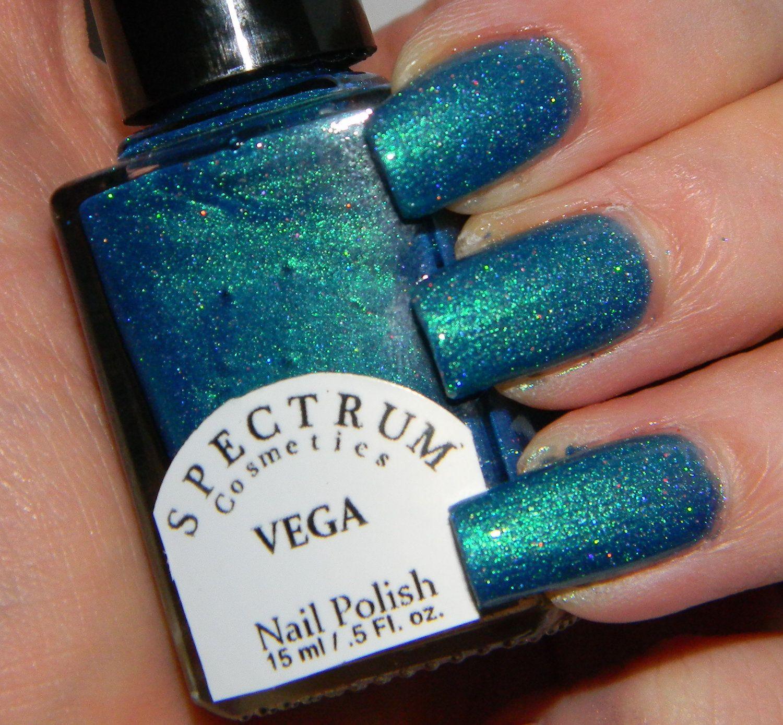 Teal Duochrome with Holographic Glitter nail Polish VEGA. $8.00, via ...