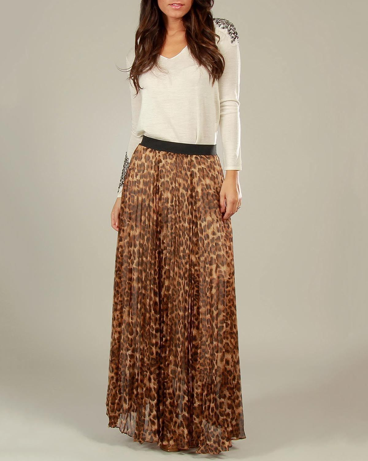2a2a10568619 Leopard Print Pleated Maxi Skirt | my dream closet. | Skirts ...