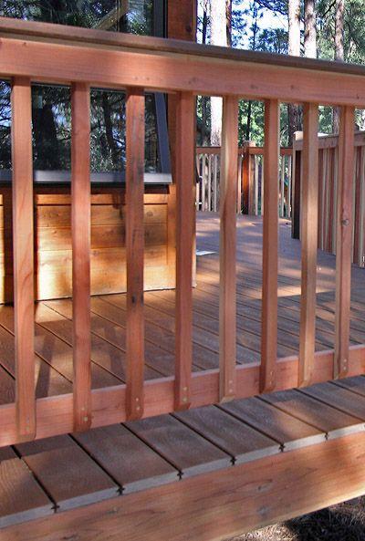 Redwood Railing On A Deck Deck Deck Railing Design Building A Deck