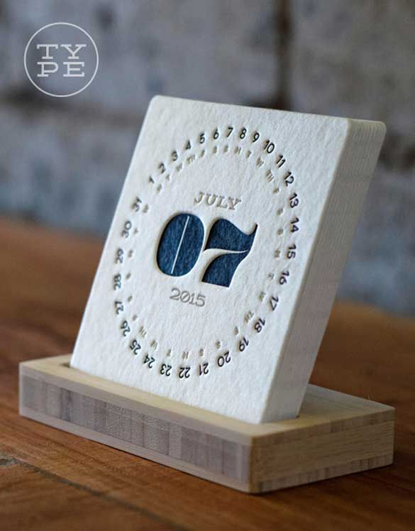 2015 letterpress hand crafted 2015 desk calendar design
