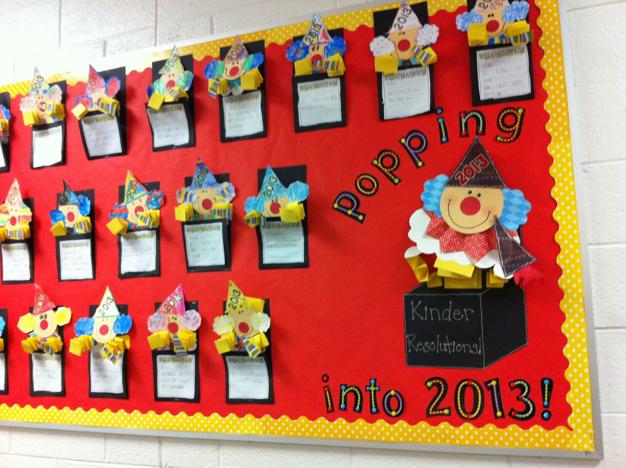 Scrapbook ideas kindergarten - New Year S Kindergarten Bulletin Board Jack In The Box