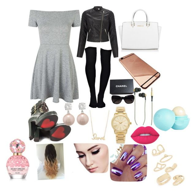 """""""Business days"""" by goddess12 ❤ liked on Polyvore featuring Topshop, Lipsy, Luichiny, Michael Kors, Chanel, Kreafunk, Sydney Evan, Lime Crime, Marc Jacobs and River Island"""