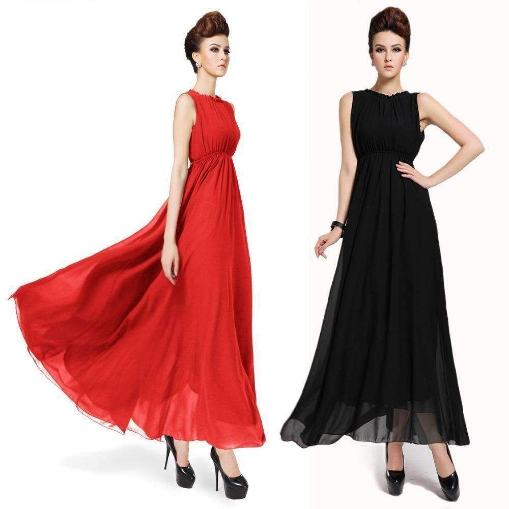 2018 Cheap Black Chiffon Red Elegant Dress Ladies Slim Plus Size Empire Women  Gowns Ankle Length Long Prom Gown Summer Dress 5f712837f7f3