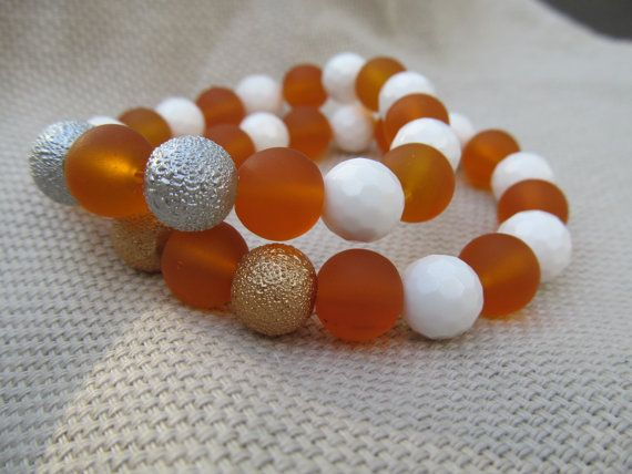 White faceted shell tangerine sea glass and by littlecrowshop, $17.00