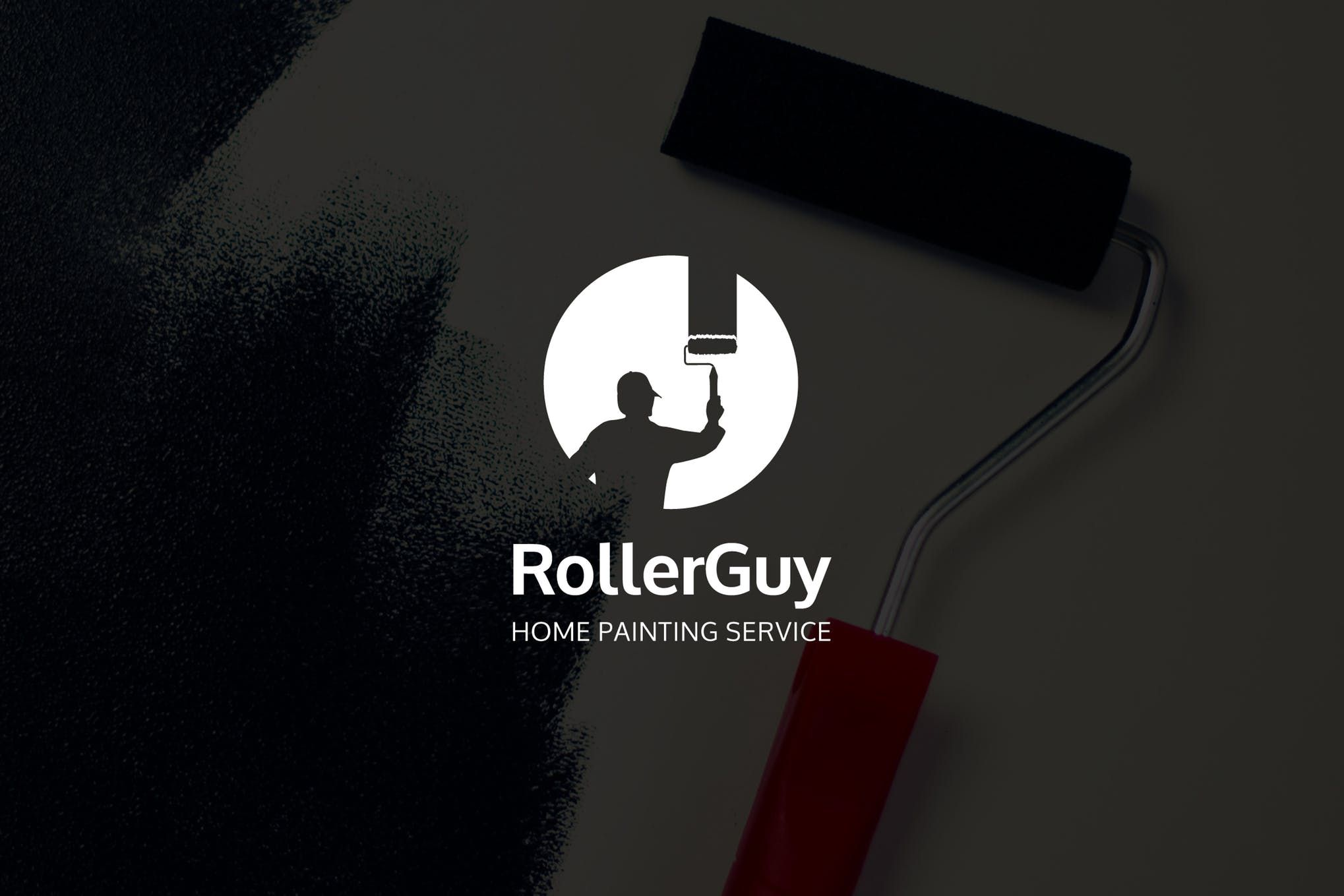 RollerGuy Negative Space Paint Service Logo by punkl on