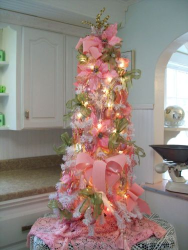 Shabby Pink Christmas Tree Vintage Ornaments Velvet Ribbon