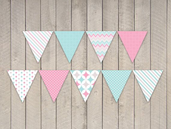 Candy Princess Party Bunting Banner Flags - DIY Printable Bright ...