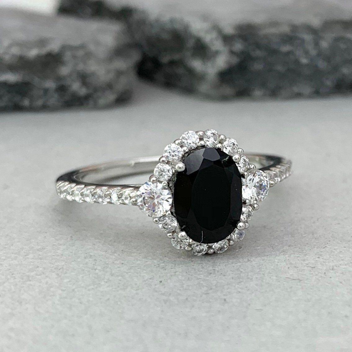Rose Gold Black Onyx Wedding Ring 925 Silver Black Onyx Engagement Ring For Women Anniversary Ring Silver Black Onyx Art Deco Antique Ring