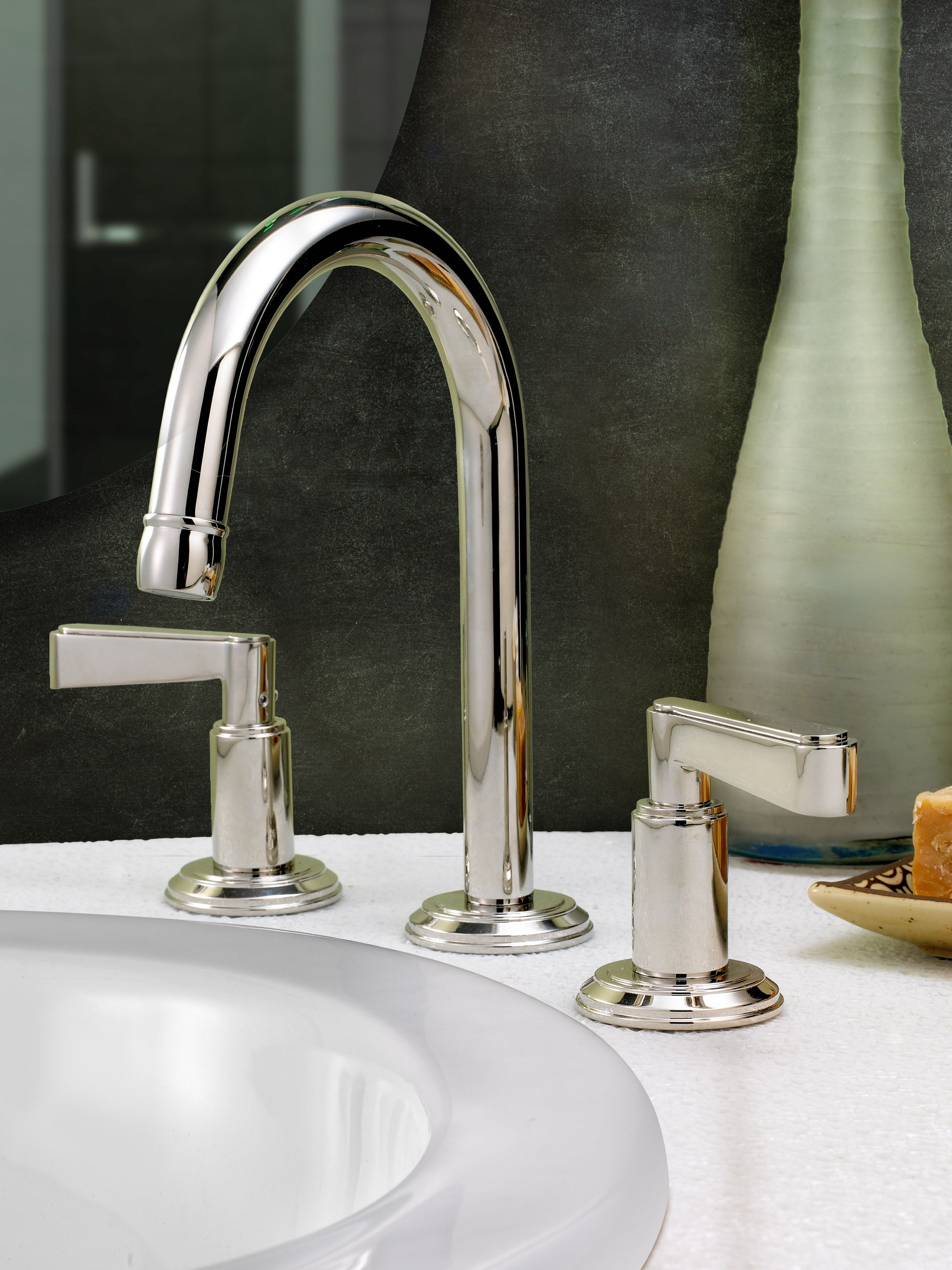 Anika Faucet By Watermark Designs Deck Mount For Guest Bath And Wall Mount For Master Kitchen Faucet Design Watermark Design Bath Accessories Design