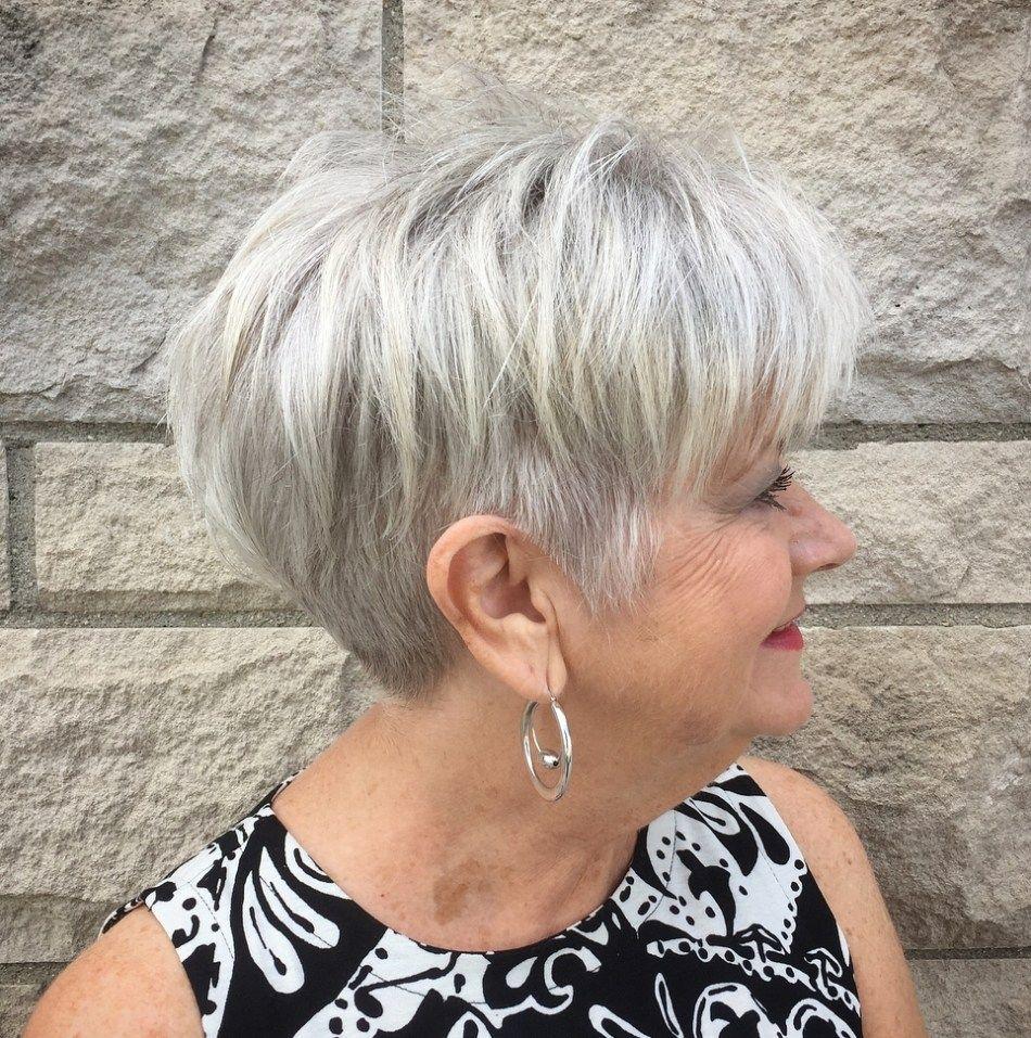 Piece-y Short Gray Style with Undercut  Hair styles, Short hair