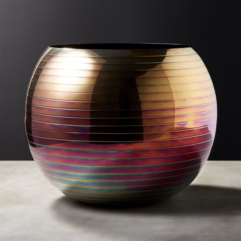 Cb2 Juno Iridescent Planter Vase Metal Planters Iridescent And