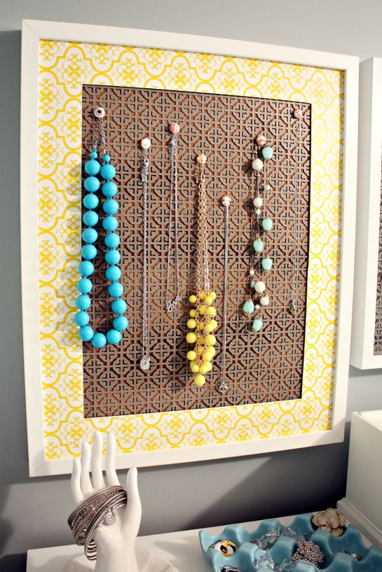 Necklace organizer using cheap decorative metal frame corkboard
