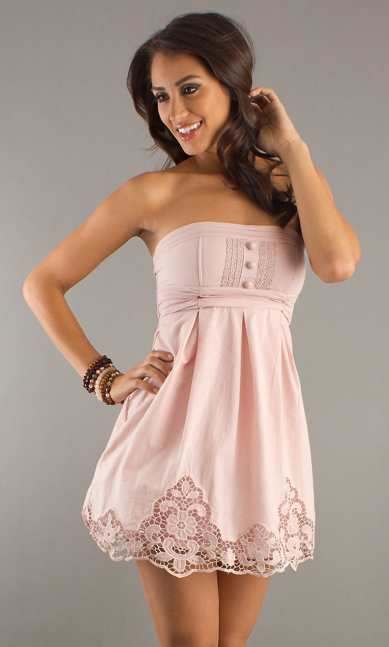 Strapless Short Summer Dress, Short Summer Dresses- PromGirl ...